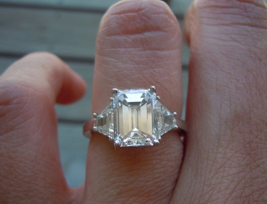2-carat emerald-cut diamond ring with trapezoid-shaped side stones - FAVORITE