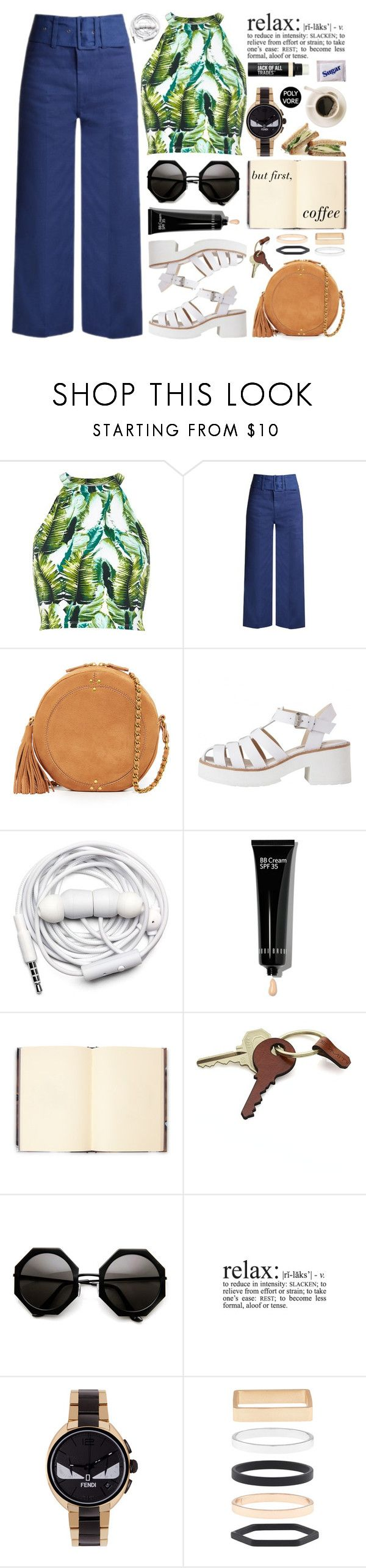 """Just a Sip of Coffee"" by stavrolga on Polyvore featuring River Island, Sea, New York, Jérôme Dreyfuss, Urbanears, Bobbi Brown Cosmetics, Weston, Crate and Barrel, Fendi, Accessorize and Bare Escentuals"
