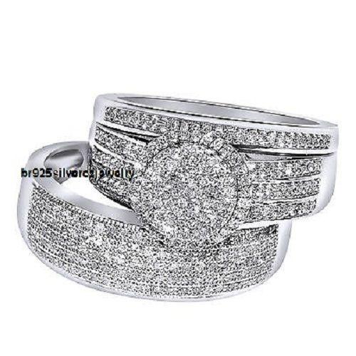 Mens Ladies 10K White Gold Diamond Engagement Ring Wedding Band Trio Bridal Set #br925silverczjewelry #EngagementWeddingAnniversaryPartyBirthdayGift