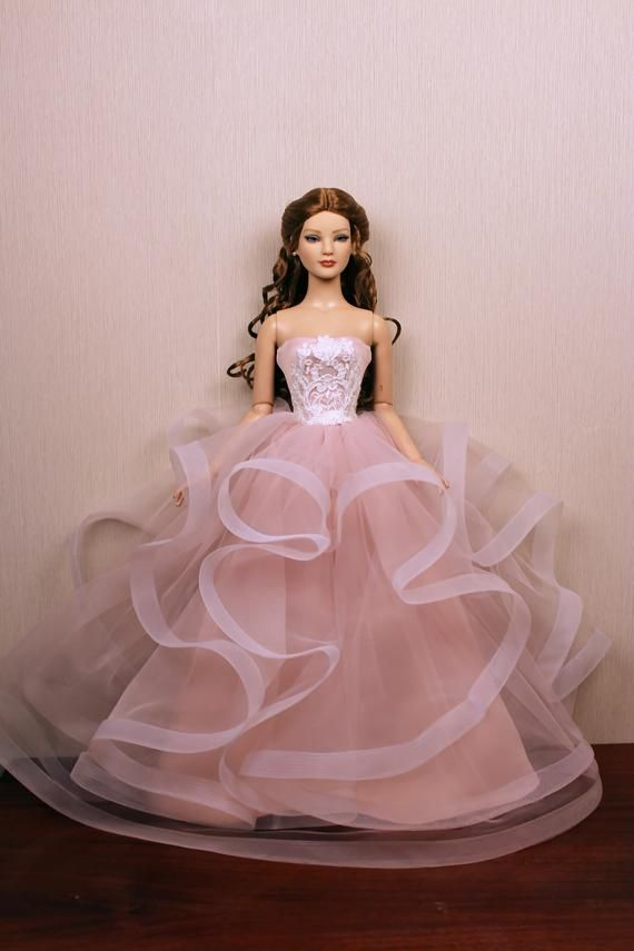 Elegant Handmade Doll Clothes Wedding Dress  Doll Party Gown Clothes TEUS