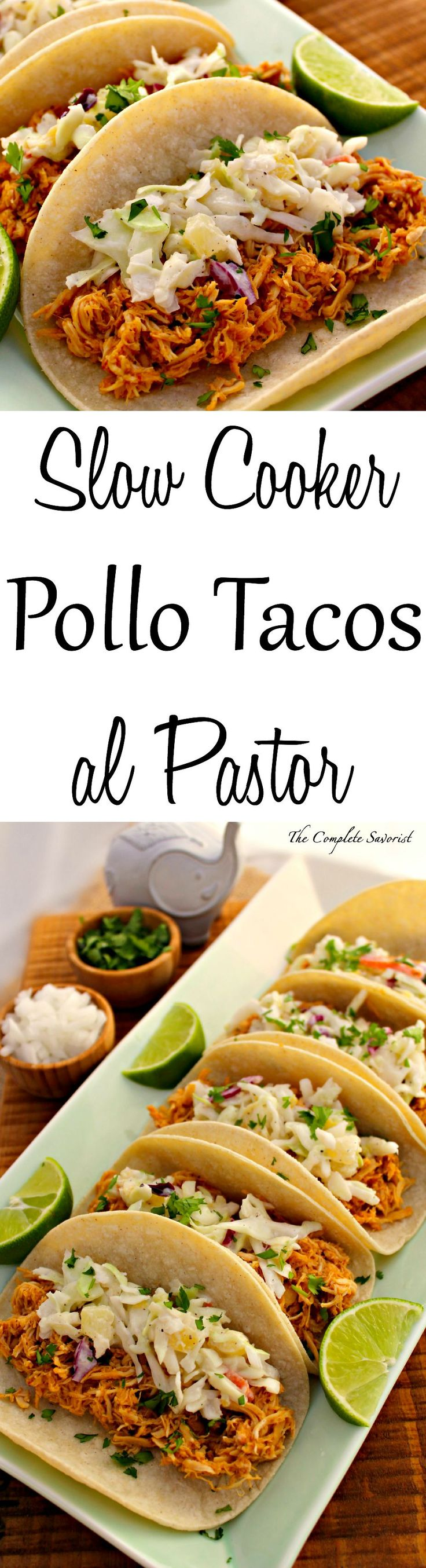 Slow Cooker Pollo Tacos al Pastor ~ Slow cooked chicken in the traditional al pastor flavors, shredded and put in a taco, topped with pineapple coleslaw. ~ The Complete Savorist #SwansonSummer #ad