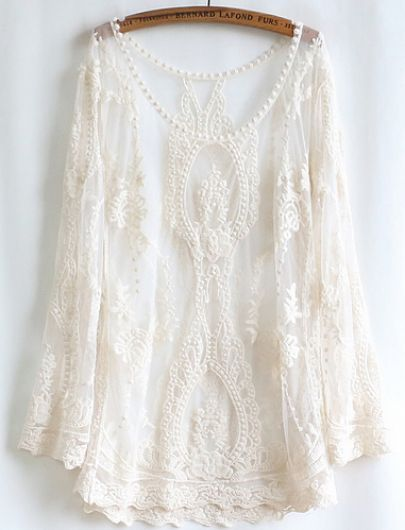 White Long Sleeve Lace Blouse @Pascale Lemay De Groof