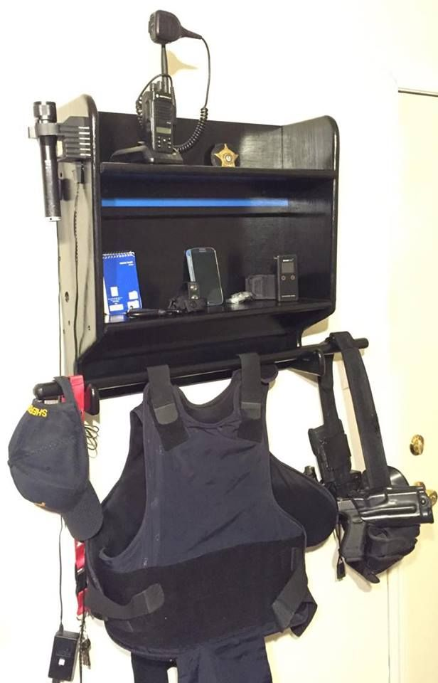 LEO Police Equipment Rack Holds and Organizes All Of Your Duty Gear In One Convenient Place. $175 Includes Shipping To Most US Areas. Can Be Customized Also. On FB @ Ozark Custom Wood