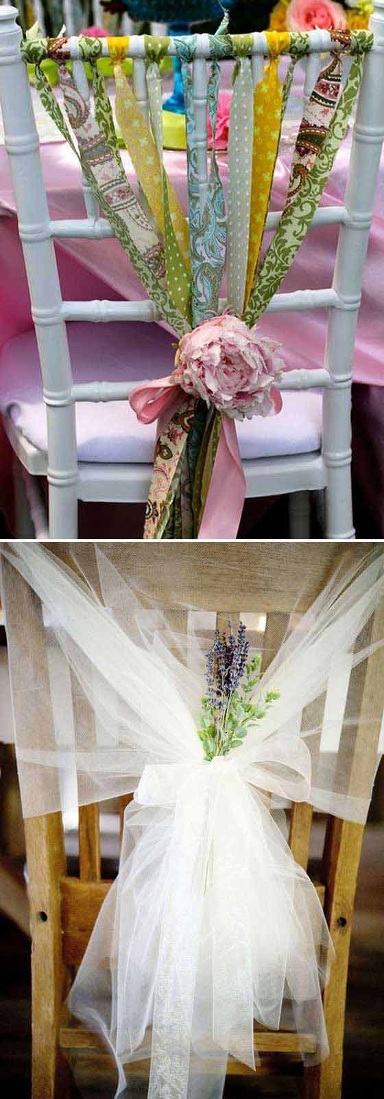#6. Ribbon-tied chairs would be effective decorations for a festive event. The Best 31 DIYs and Hacks To Save Money On Your Wedding