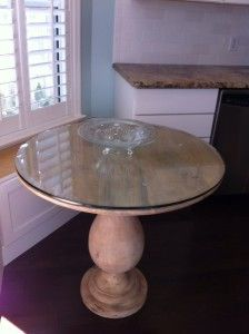 Mango Wood Table with Dulles Glass Table Top. This customer ordered a custom glass table top protector for their Mango Wood Table. No more worrying over water marks and stains. Our tempered glass table tops are durable and 5 times stronger than ordinary glass.