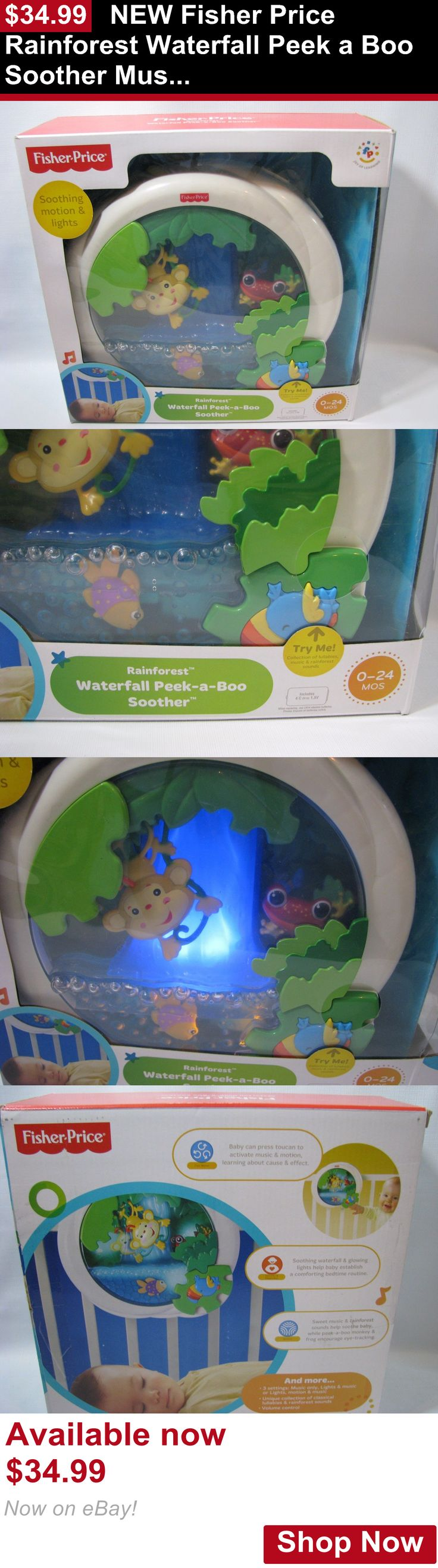 Crib Toys: New Fisher Price Rainforest Waterfall Peek A Boo Soother Musical Baby Crib Toy BUY IT NOW ONLY: $34.99