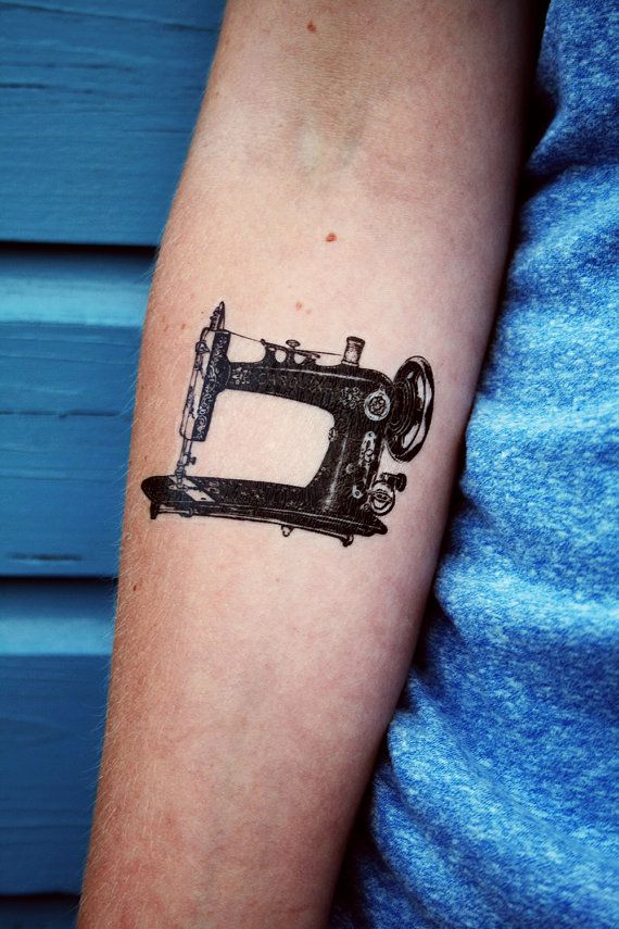 Vintage sewing machine temporary tattoo by Tattoorary on Etsy, $6.00