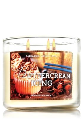 "Buttercream Icing - 3-Wick Candle - Bath & Body Works - The Perfect 3-Wick Candle! Made using the highest concentration of fragrance oils, an exclusive blend of vegetable wax and wicks that won't burn out, our candles melt consistently & evenly, radiating enough fragrance to fill an entire room. Burns approximately 25 - 45 hours and measures 4"" wide x 3 1/2"" tall."