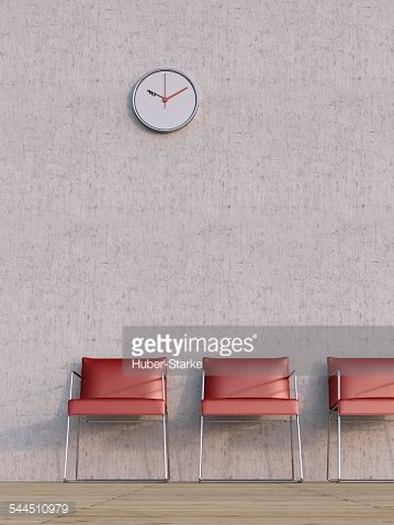Stock Illustration : Digital Illustration of Three Red Chairs in a Row in front of Concrete Wall