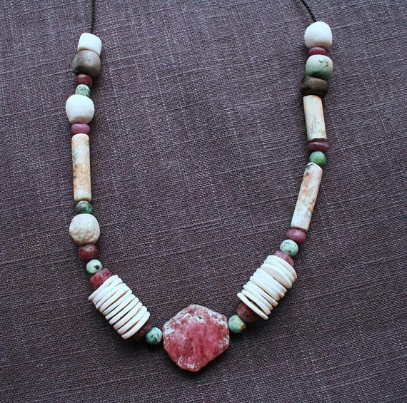I just love Rough Rubies. They fit my signature style perfectly - earthy, natural, weathered and hint of something rediscovered, an excavated artefact, a reinterpretation of ancient, ethnic jewellery. That's my style. This beautiful necklace has just been listed in my Etsy shop.  Ancient Ways Necklace: rough rubies/ artisan white porcelain &