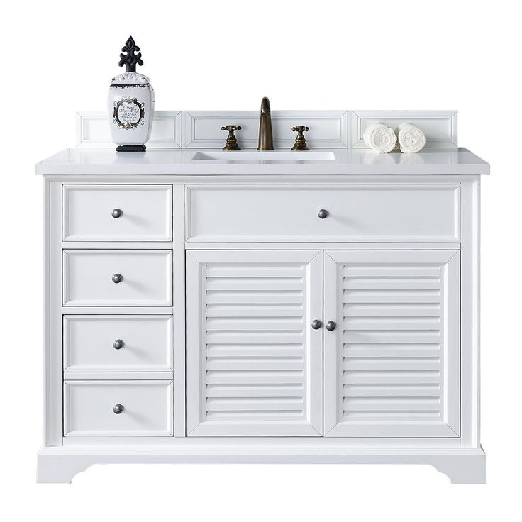 James Martin Signature Vanities Savannah 48 in. W Single Vanity in Cottage White with Quartz Vanity Top in White with White Basin