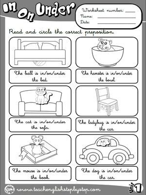 Place Prepositions - Worksheet 2 (B