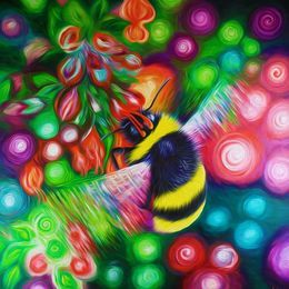 Bumble Bee and Flowers by simon-knott-fine-artist at zippi.co.uk