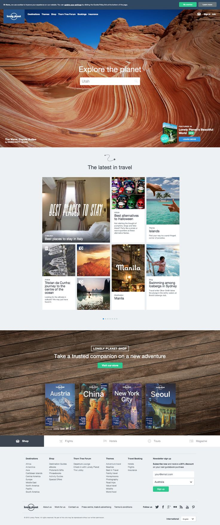 I feel like they could have done so much more with this design, but as it is, the site is straightforward, easy on the eyes, and relatively easy to navigate through A LOT of content. http://www.lonelyplanet.com