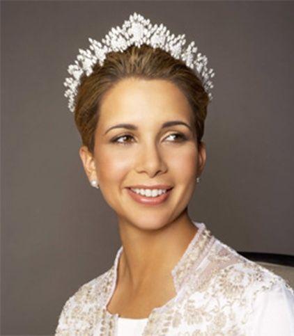 Princess Haya bint Al Hussein wearing Queen Alia's Diamond Tiara, Jordan (20th c.; made by Cartier; diamonds).