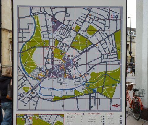 Cavendish Square, Cambridge city centre way finding map. in Vitreous Enamel