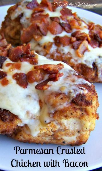 Parmesan Crusted Chicken with Bacon | http://otasteandseeblog.com/parmesan-crusted-chicken-with-bacon/