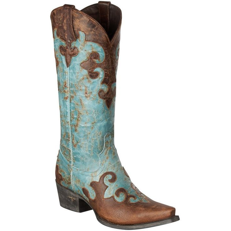 Dawson Cowboy Boot in Distressed Turquoise/Brown LB0023A Discontinued