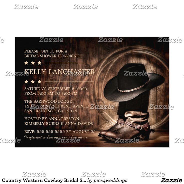 Country Western Cowboy Bridal Shower Invitations