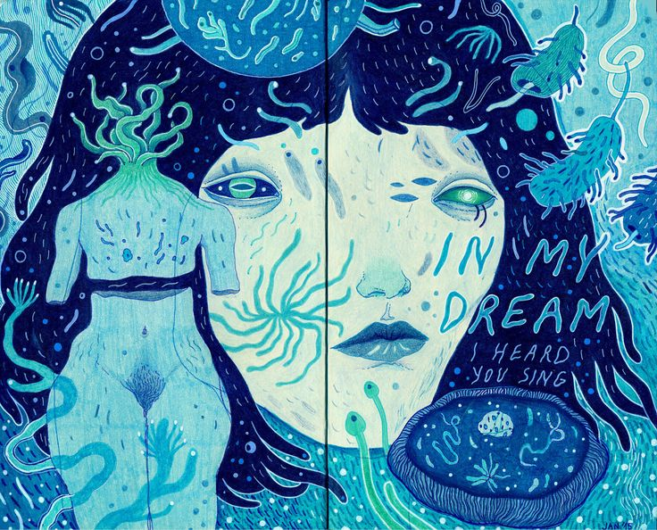 in my dream, a blue art journal illustration by Ines Jakovljević