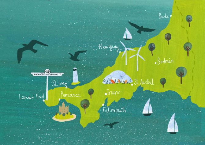 Cornwall maps - Becky Down Illustration