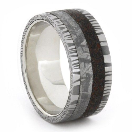 Wedding Ring Bands >> 10k White Gold Ring with Damascus, Dinosaur Bone and Gibeon Meteorite-1726 | Dinosaur bones ...