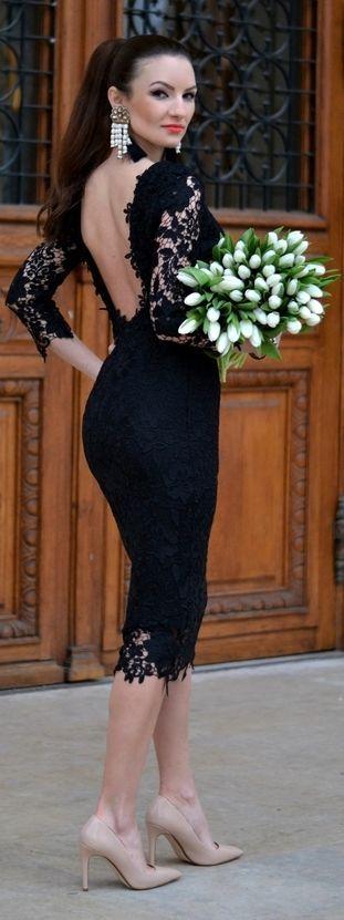 Backless Lace Body-con Dress by My Silk Fairytale - Little Black Dress ~