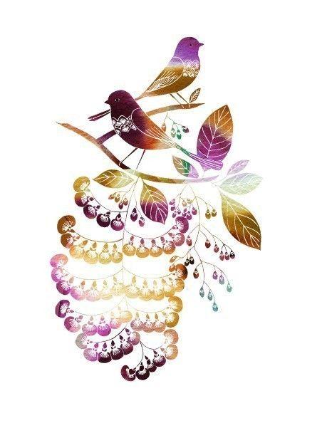 April Nightingales purple by yumiyumi on Etsy, $20.00