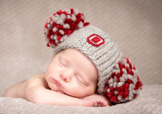 Baby Girl Ohio State Buckeyes Football Hat  by PhotoPropsnMore