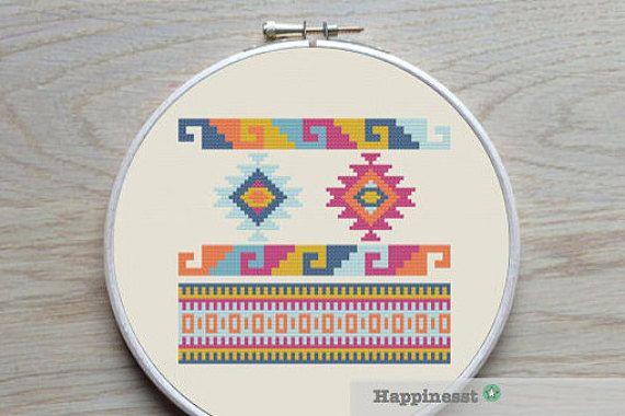 cross stitch pattern geometric navajo aztec tribal par Happinesst