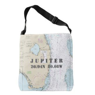 South Florida Latitude Longitude Nautical Theme Crossbody Bag - For those who live, work, and play in Jupiter, Palm Beach County, Florida, and love their authentic nautical themed gear, this back features the official navigation chart (No 11460). via @Zazzle   by #ManualWW #Zazzle