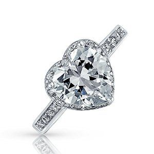 Bling Jewelry 925 Sterling Silver CZ Heart Shaped Ring  #krissylovesbling