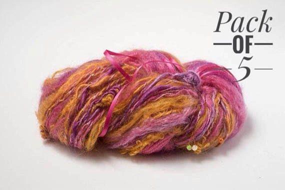 $63.65 Upcycled Yarn Pack of 5 balls Flamingo Wool - visit the AfriYarn store on Etsy. #etsy #yarn #wool