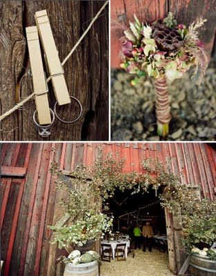 clothes pins with pictures strung around the wedding. love the door frame too