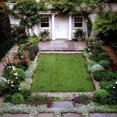 cottage garden perfect for a row house or other courtyard backyard.