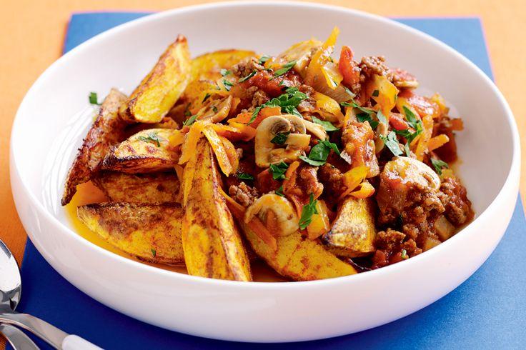 Savoury Mince And Potato Wedges Recipe - Taste.com.au