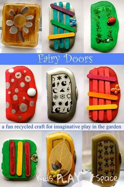 Fairy Doors - a fun recycled craft for imaginative play in the garden, from Kids Play Space
