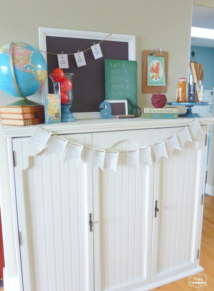 mantel with apples, globe, vintage books, chalkboards, pencils, mason jars, flash cards at thehappyhousie