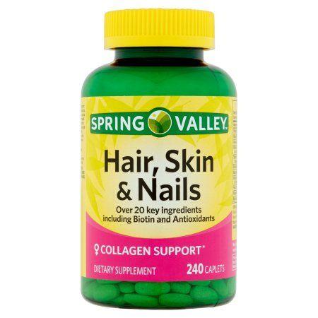 Spring Valley Hair, Skin & Nails Plus Biotin Dietary Supplement Caplets, 240 count