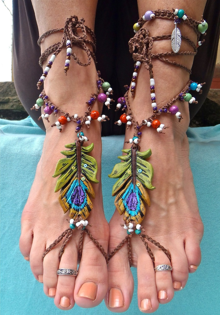 PEACOCK FEATHER barefoot Sandals