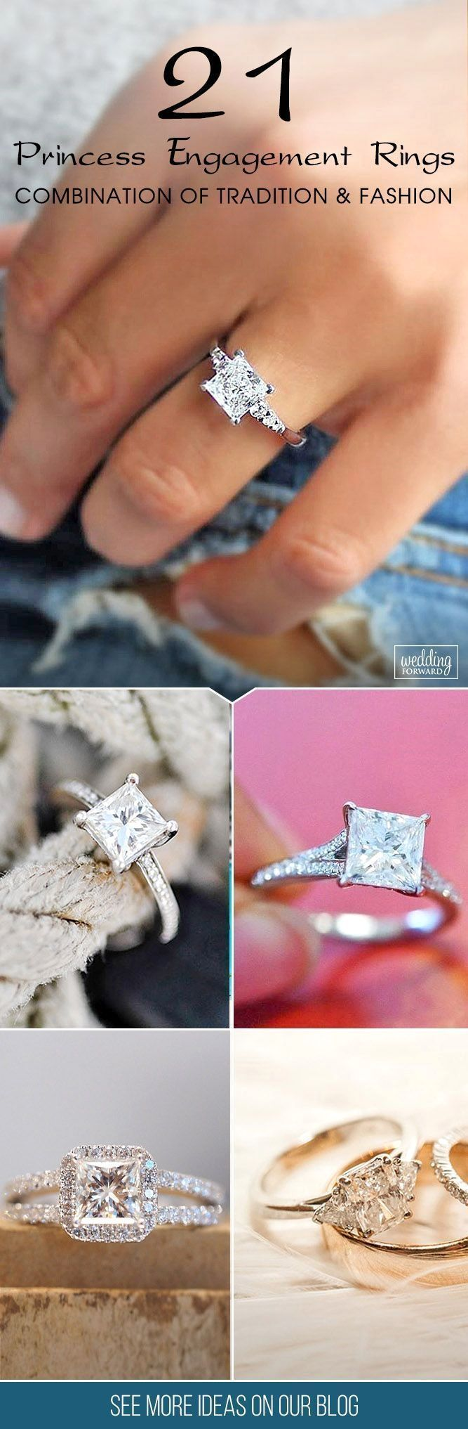 21 Breathtaking Princess Cut Engagement Rings ❤ Princess cut engagement rings are combination of tradition and fashion. Choose princess cut diamond rings you will get unique, modern shape and amazing sparkling appearance for lower price. #amazingrings #princessdiamondengagementrings