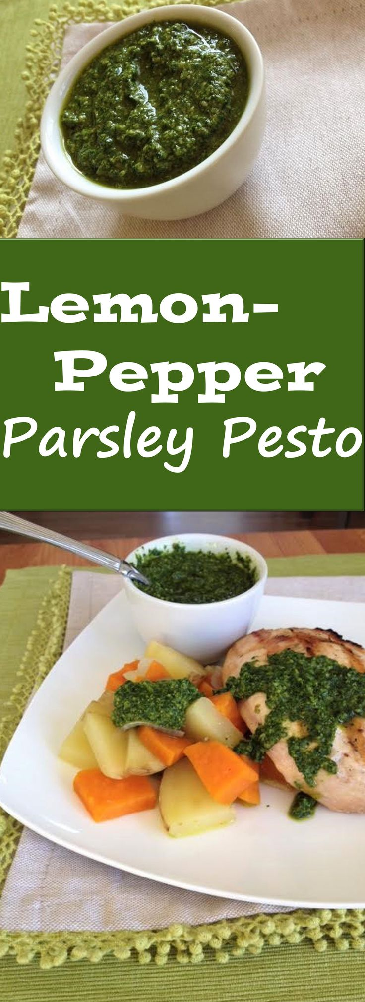 Ever have extra parsley laying around? Turn it into Lemon-Pepper Parsley Pesto to avoid wasting it! Lemon-Pepper Parsley pesto is as versatile as classic basil pesto and can be used with many foods and recipes. It adds a super fresh flavor and the great thing is that it can be frozen for later use. With this recipe, you will never have to throw out extra parsley again!