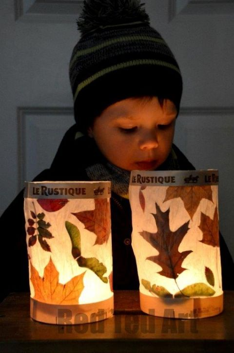 Leaf Crafts for Fall- Leaf paper lantern