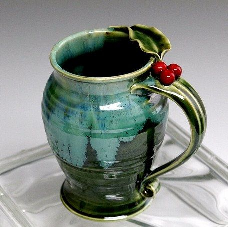 Holly Berry and Leaf Stoneware Pottery Coffee by waukeshapottery, $25.00
