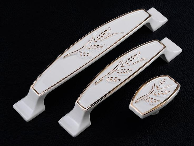 Shabby Chic Dresser Pulls Handles Drawer Pulls Handles Knobs Ivory White  Gold Kitchen Cabinet Handle Pull