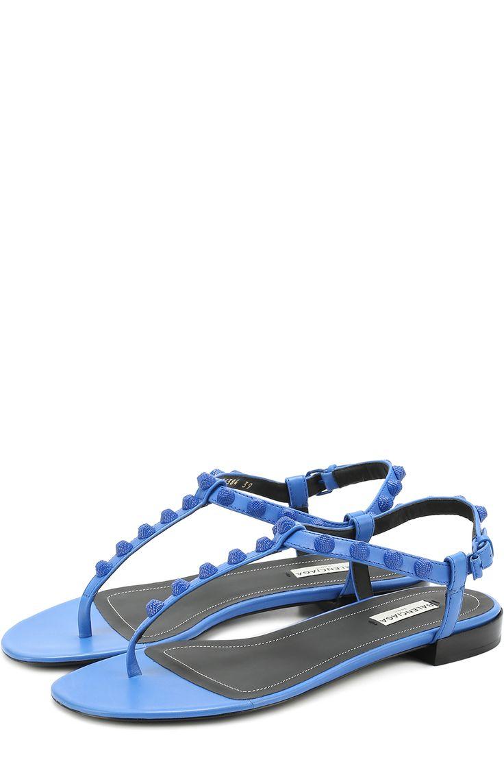 Женские синие кожаные сандалии с декором Balenciaga, сезон SS 2017, арт. 454384/WADH0 купить в ЦУМ | Фото №1
