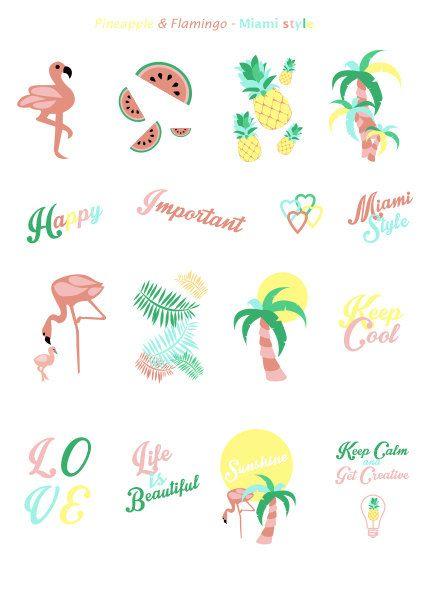 Printable miami style, flamingo, pineapple, watermelon stickers | 3 pdf…