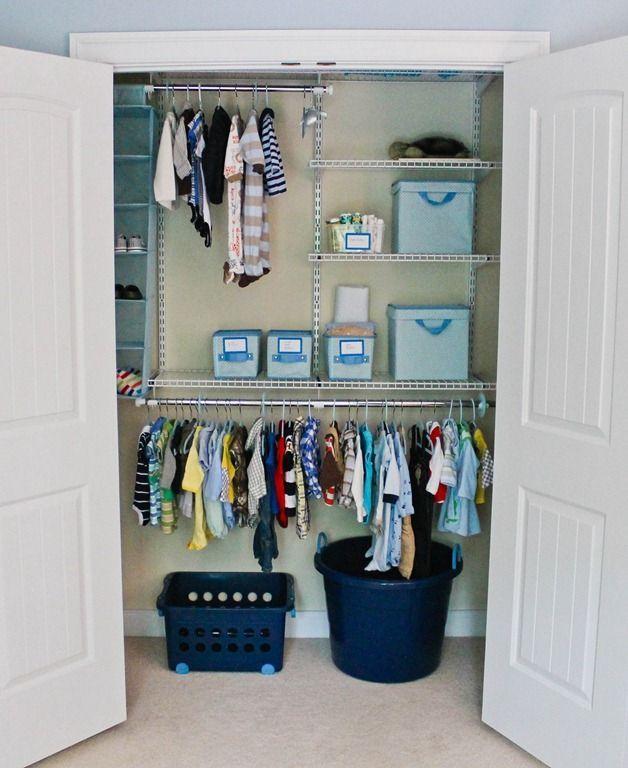 Nursery Closet - lots of organization ideas