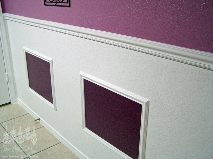 Our purple guest bathroom-molding and trim