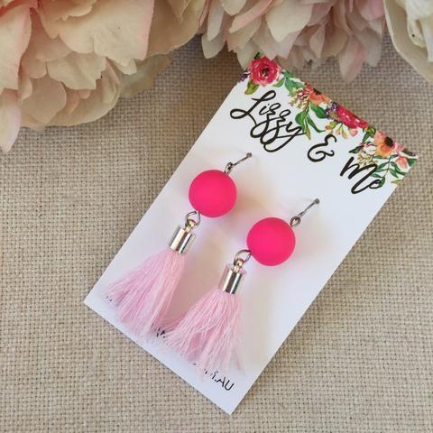 """""""Tullulah"""" - Tassel Earrings - Hot Pink & Ballerina Pink"""